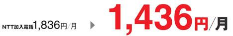NTT加入電話1,836/月→1,436円/月