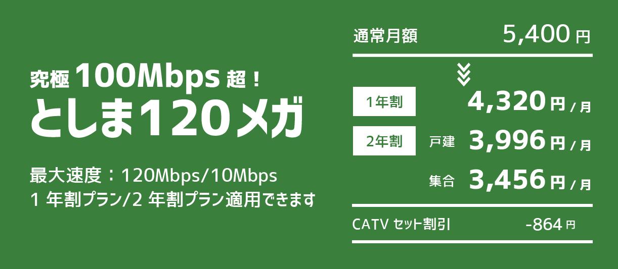 としま120メガ:最大速度120Mbps/10Mbps 1年割プラン/2年割プラン適用できます 1年割:月額4,320円 2年割(戸建):月額3,996円 2年割(集合):月額3,456円 CATVセット割引-864円