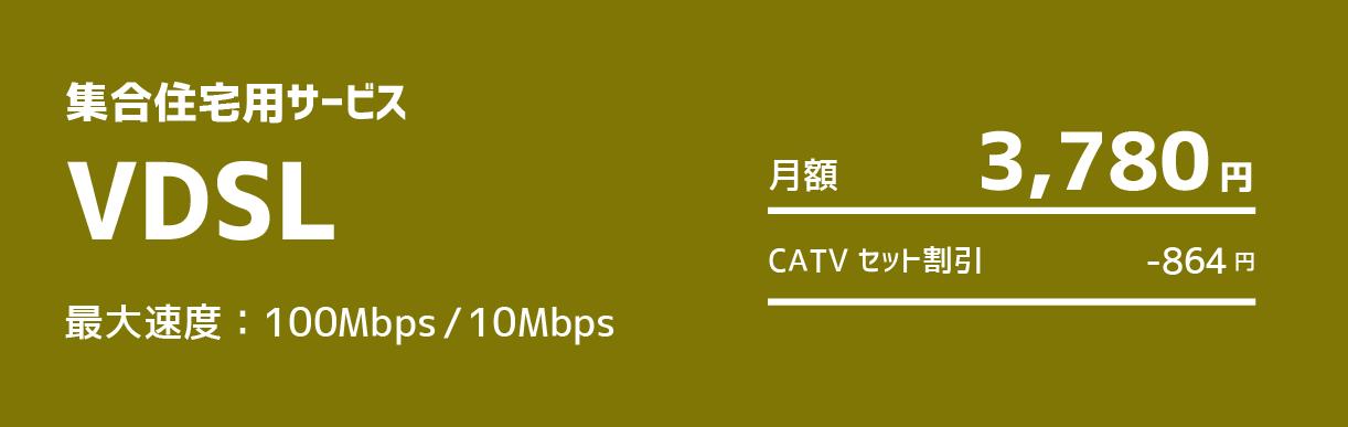 VDSL:最大速度100Mbps/10Mbps 月額3,780円 CATVセット割引-864円
